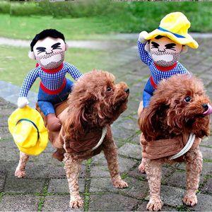 Caballo divertido del perro casero montar a caballo del traje del jinete Vestirse ropa de fiesta de Halloween para perros gatos adecuados para pequeñas y grandes razas Y200917