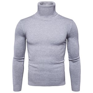 FAVOCENT Winter Warm Turtleneck Sweater Men Fashion Solid Knitted Mens Sweaters Casual Male Double Collar Slim Fit Pullover 200919