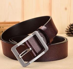 Hi-Tie Men's Belt High Quality Cowhide Leather Strap Belts for Men Cowboy Casual Fashion Classice Vintage Pin Buckle Belt
