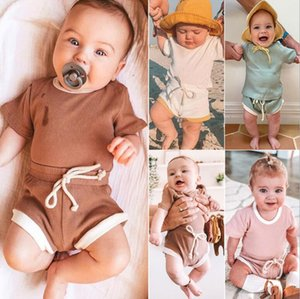 INS Baby Summer Outfits Fashion Kids Summer Clothes Sets Kids Sports Suits Short Sleeve Top+Shorts Baby Boys Girls Casual Clothing Sets 20se