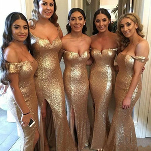 Sparkly Sequined Mermaid Bridesmaid Dresses Off Shoulder Sweetheart High Side Split Maid of Honor Dress Wedding Guest Party Gowns vestidos