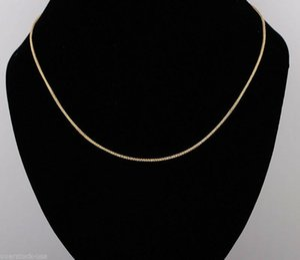 Цепи Real 18K Желтая Золотая цепь Женщины Удача 1.1MMW Ссылка из пшеницы Ожерелье