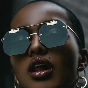 Gafas de sol inolvidables octagonales para mujeres diseñador de oro Marco de oro Punk Sun Glass Shades de moda UV400 Protección