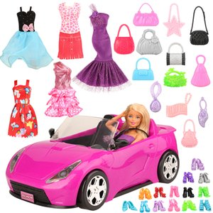 Handmade 26 item set Doll Accessories = 1 Toy car +5 Dolls Clothes + Kids Toys For Girl 10 Random Shoes Objects For Barbie Game 200925