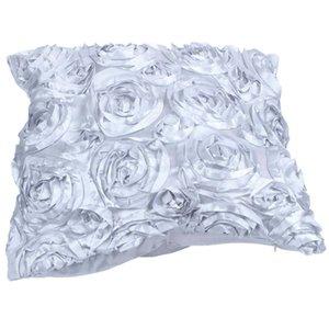 16inch Satin Rose Flower Waist Throw Pillow Case Cushion Cover Sofa Home Decoration, Silver