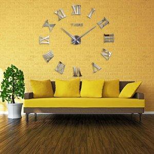 Mur New Unique 130 Big Diy 2020 Grand autocollant Clocks Taille moderne Miroir Horloge design cadeau Homedecoration OjNon wrhome