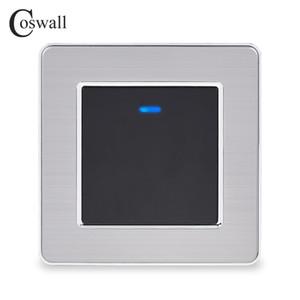 LED Göstergesi 16A Black Gold Renk ile Açık / Kapalı Wall Switch On Coswall Paslanmaz Çelik Panel 1 Gang 1 Way Işık Anahtarı