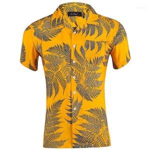 Herren-Shirts Blatt gedruckte kurze Hülsen-lose Mens Urlaub Tops Sommer Hawaii-Revers-Neck