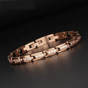 Gold Edelstahl-magnetisches Germanium Negative Ionen heilende Kristall Zircon-Armband für Frauen Rose Gold Health Care Armbänder