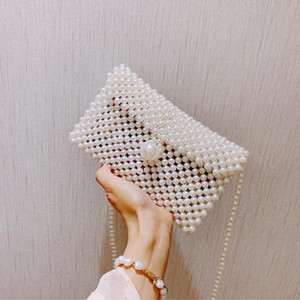 Hand-woven Pearl Bags Lady Beaded Shoulder Bag Handbag Flap Bag Mini Crossbody Vintage Handbag Cross Body kkvQ#