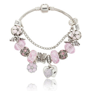 Pink sakura love heart Pendant Charms Bracelet for Pandora 925 Silver 3mm Snake Chain Charm Bracelets for Women with Original logo