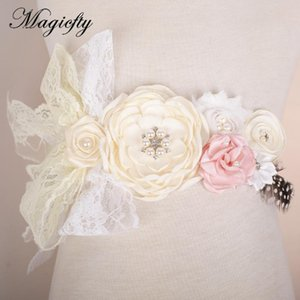 Ivory tulle Flower Sash Belt Bridesmaid Accessory Photo Prop Baby girl birthda lace Flower Belt Bridal Wedding Accessories 16pcs