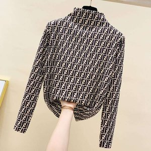 Печатной катионной базовой рубашка Женщина осень зима стиль теплой куртки половина высокого воротник мода джокер показать тонкую спонтанную горячую футболку