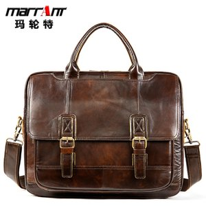 Malente multifunctional men's Bag Messenger Bag Leather Men's bag horizontal cowhide business leisure briefcase Large capacity, real leather