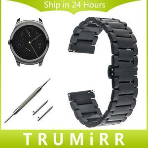 Cgjxs 20 mm 22mm Quick Release bande Watch Pour Ticwatch 1 46mm / 2 42mm / E Papillon Boucle Bracelet bracelet en acier inoxydable Bracelet Ceinture
