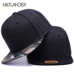 HATLANDER جودة عالية الصوف قبعات snapback عادي غطاء التمويه لعبة البيسبول وقبعة الرجال والنساء في فصل الشتاء قبعة شقة فارغة حافة قبعة الهيب هوب