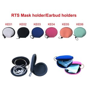 RTS Plain Colore Per Sublimazione impermeabile Auricolare sacchetto della cassa del neoprene con zip borsa della moneta del sacchetto della copertura del viso Con Portachiavi EWA1692