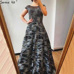 Black A-Line Crystal Luxury Evening Dresses 2020 Dubai O-Neck Cap Sleeves Formal Dress Serene Hill DLA70551