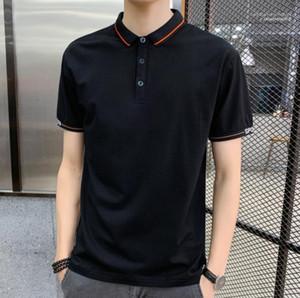 Manga corta Slim Polo Shirt Casual Mens Ropa de lujo Mens Designer Tshirt Moda Color de Color Sólido Cuello