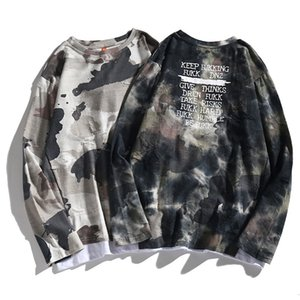Fengchao brand men's camouflage long-sleeved T-shirt loose spring and autumn fake two-piece long-sleeved top for men NGRC