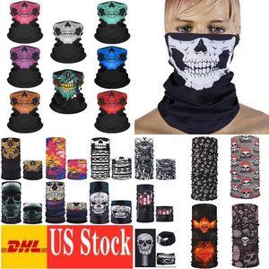 DHL Hızlı Cadılar Bayramı Partisi Maskeler Cadılar faceshield Kafatası Çok fonksiyonlu Magic Turban Binme Maske Sıcak ve Değiştirilebilir Yüz Maskesi FY7150
