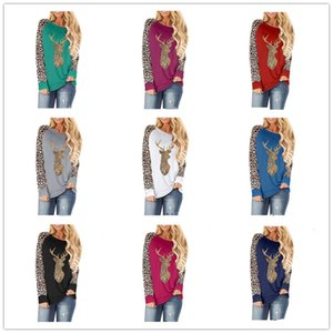 Plus Size Women Sweater Christmas Deer Sequined Leopard Patchwork Round Neck Fashion Long Sleeve T-shirt 2020 Autumn Winter Clothes E92401