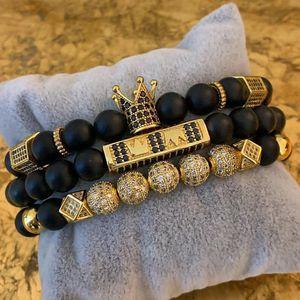 JuneLeaf 3pcs set Bead Bracelet Royal Crown Charm Bangle Natural Beads Buddha Bracelet for Women Mens Pulseras Masculina