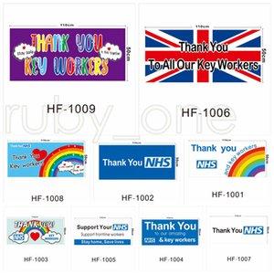Reino Unido pared del hogar de la bandera Banderas Banderas Gracias Usted bandera NHS Reino Unido arco iris impreso 50 * 110cm por kingroom RRA3547