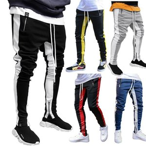 Pencil Pants with Drawstring Casual Mens Clothing 19AW Mens Designer Pants Fashion Panelled Color Double Zippers