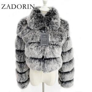 Zadorin 2020 Moda recortada Top FALSA Fox más el tamaño de gira el collar abajo la capa del invierno de las mujeres mullido de la chaqueta T200908