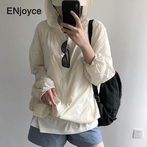 Korean Summer Women Basic Hooded Jackets Sunscreen Zipper Coats Casual Long Sleeves Autumn Thin Windbreaker Loose Outerwear 2020