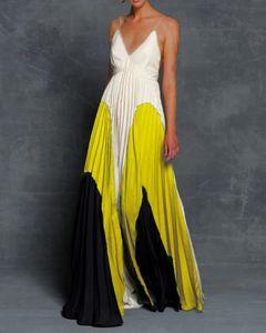 Donna di colore di pendenza dalla cinghia di spaghetti casuale Patchwork Show sottile Summer Dress Abiti profonda scollatura a V Neck