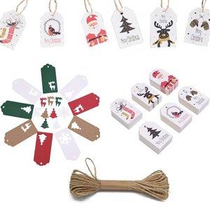 50pcs de papel Kraft de Navidad Etiquetas de regalo de la cuerda de yute Multi Estilo Elk árbol de Navidad una etiqueta colgante DIY Crafts New Year Party envolver Deco