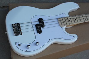 Factory Custom White 4-string Electric Bass Guitar,Chrome hardwares,Maple Fingerboard,White Pickguard,White Headstock,Offer Customized
