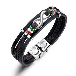 Vintage Unendlichkeit Leder-Armband für Männer Schwarz Triple-Geflochtenes Armband-Armbänder Edelstahl Armbänder Schmuck Geschenk