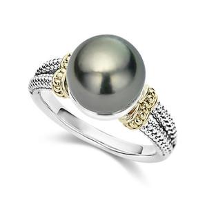 S925 Silberring mit eingelegtem grauen Perlenring, europäischen und amerikanischen Wunsch runden Verlobungsring Großhandel