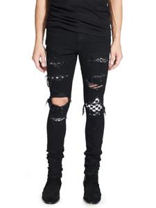 High Street Fashion Men's Jeans Black Color Destroyed Hip Hop Jeans Men Broken Punk Pants Patch Skinny Ripped For Men