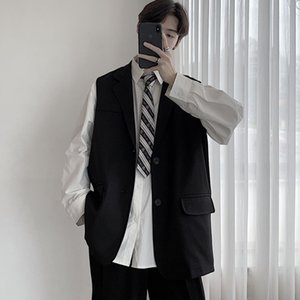 Men's Waistcoat 2020 Early autumn slim solid color sleeveless college style suit Waistcoat relaxed casual youth men's wear