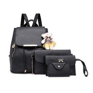 2020 Fashion large capacity backpack4PCS SET PU Leather Composite Bag Women Ladies Messenger Single Shoulder Bag