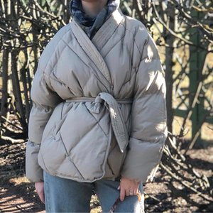 Hzirip New Design Women Winter Solid Sashes Coat Female Thick High Quality Students Outwear Sweet Women Jacket Plus Size 200917