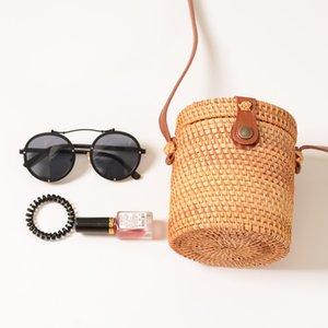 Bohemia Shoulder Travel Rattan Handbag Summer Beach Messenger Bag Ladies Woven Straw Bucket Mini Lgkht