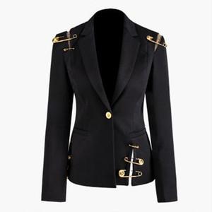 Yeni Sonbahar Kış Kadın Siyah Blazers Lion Baş Altın Düğme iğneler Blazer Ceket Uzun Kollu İnce Büro İş Ceket A114