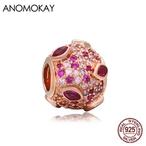 Anomokay Romantic Full Crystal Round Heart Rose Gold Color Charm fit Bracelets & Bangles 100% Sterling 925 Silver Bead for DIY