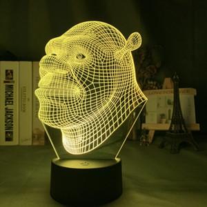 아이들을위한 3D 홀로그램 슈렉 LED 램프, 보육 장식, 야간 조명, USB 전원 테이블 램프, 선물
