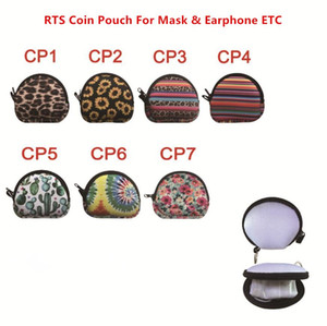US Stock MultiFunction Neoprene Small Coin Purse Coin Purse Face Mask Holder For Earphone Bags Zipper Change Purse Zipper With Keyring