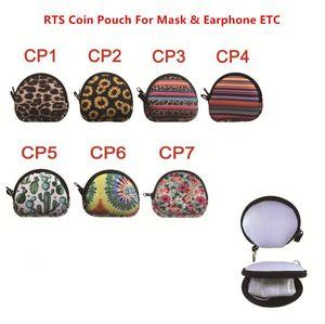 Kulaklık Çanta Fermuar Değişim Cüzdan Fermuar ile Anahtarlık için ABD Stok Çok fonksiyonlu Neopren Küçük Madeni Para Çanta Para Çanta Yüz Maskesi Tutucu
