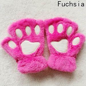 2020 New 1 Pair Winter Women Cute Cat Claw Plush Mittens Short Fingerless Half Finger Gloves