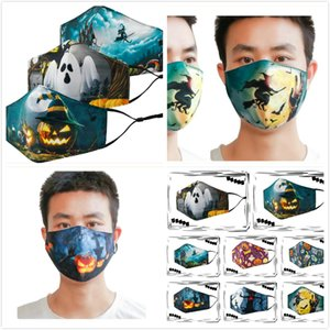 Adult Halloween Party Masks 3D Design Printed Pattern Dust Proof Washable Face Mask Over Ear Fabric Mouth Mask with Filter