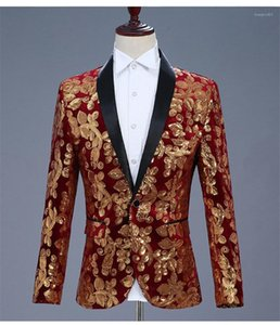 Gown Velvet Gold Sequined Blazer Male Clothing Mens Fashion Designer Suit Long Sleeve Casual Mens Outerwear Mens Costume Singers