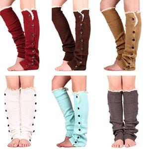 Warm Strickbeinlinge Damen Buttons Spitze Gamaschen Strickbeinschutz Stiefel Cuffs Lange Socken Strümpfe Fußwärmer Beuten Hülse DHF1634
